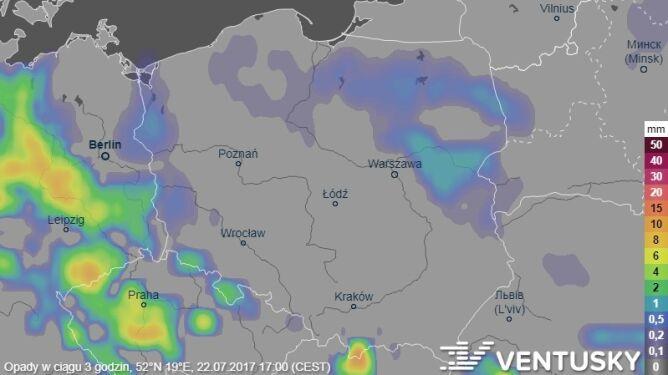 Prognoza opadów na sobotę (godz.14)