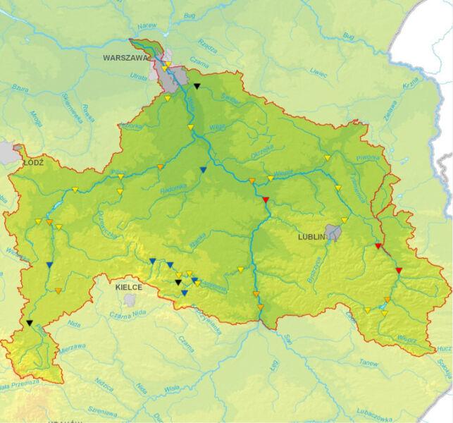 Sytuacja hydrologiczna od Sanu do Narwi wg stanu 12 (IMGW)