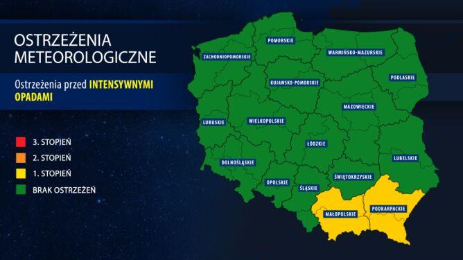 Alert na południu Polski. Deszcz będzie intensywny